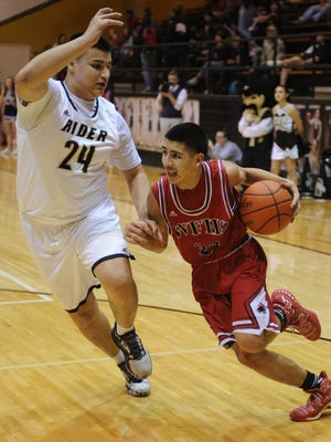 Wichita Falls High's Miguel Maldonado drives to the basket while guarded by Rider's Jorge Vargas Friday, Jan. 20, 2017, at Rider. Rider defeated Old High 65-43.