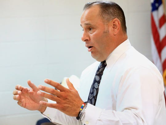 """Jim Wells County Judge Pedro """"Pete"""" Trevino Jr. talk to community members about the impact of President Trump's policies on Tuesday, May 30, 2017, at Jim Wells County Sheriff Department in Alice."""