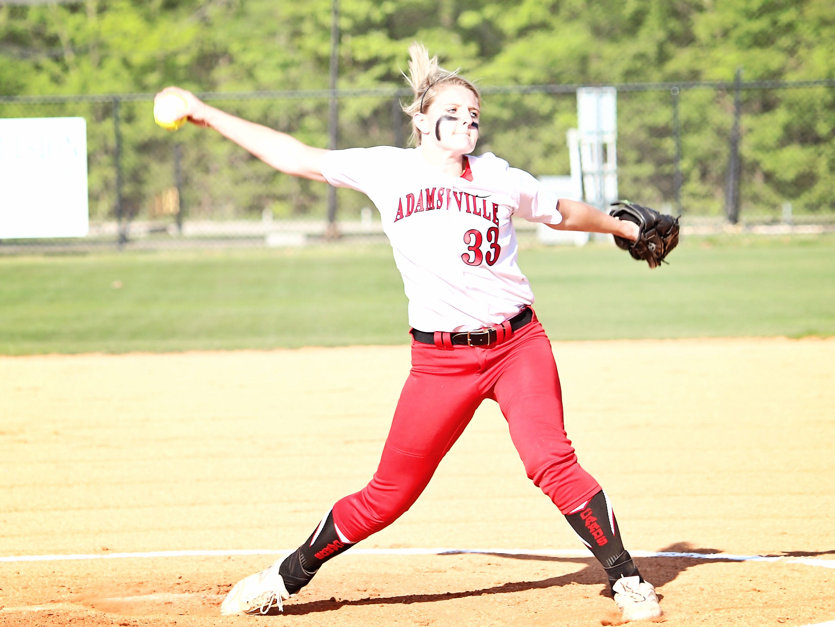 Adamsville pitcher Gabby Morris is half of a tough duo of pitchers for the Lady Cardinals.