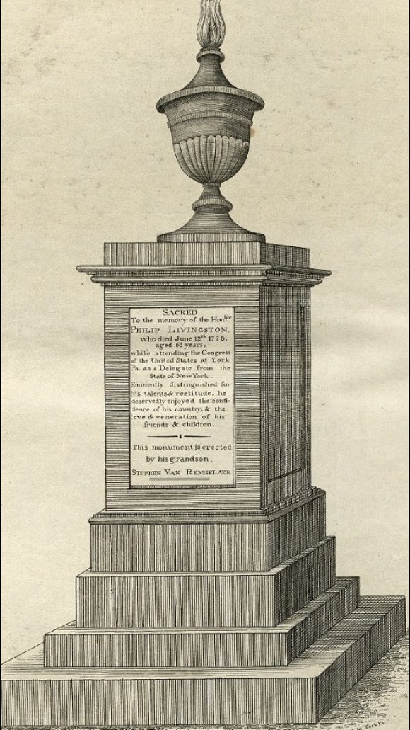 William Wagner sketch of Philip Livingston monument in Prospect Hill Cemetery, Manchester Township, York County, PA (Digital Collections of the University of Pittsburgh)