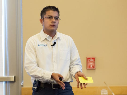 Startup contestant Carlos Murguia pitches KoolKat,