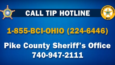 Caption that will appear on billboards in Waverly, Ohio urging anyone with information to call the investigation tip lines.