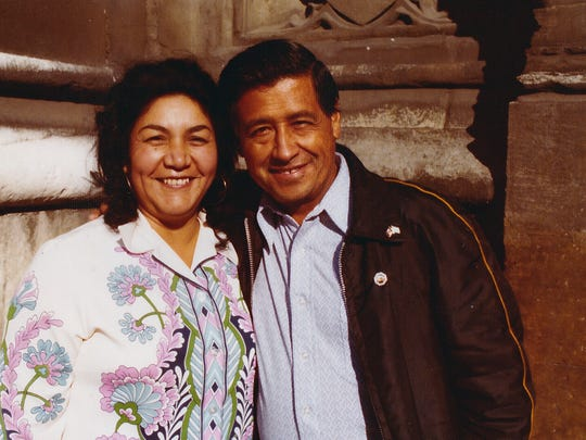 Helen Chavez This 1974 photo provided by the Cesar Chavez Foundation shows, Cesar Chavez, right, and wife Helen Chavez, during a European tour promoting the grape boycott in London. Helen Chavez, widow of civil rights and labor leader Cesar Chavez, has died at age 88. A family statement released through the United Farm Workers says Helen Chavez died Monday, June 6, 2016, at a hospital in Bakersfield, Calif., surrounded by many of her children, grandchildren and great grandchildren. No cause of death was given.  (Cesar Chavez Foundation via AP)