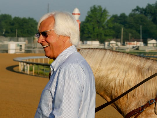 Trainer Bob Baffert looks on at Churchill Downs on Memorial Day to check on Kentucky Derby and Preakness winner Justify.