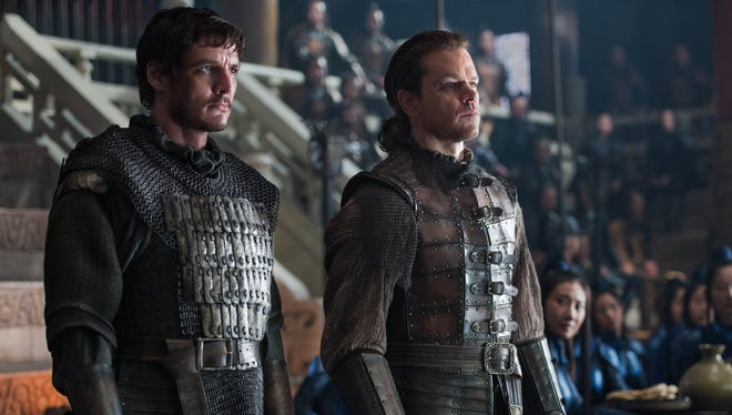 Pero Tovar (Pedro Pascal, left) and William Garin (Matt Damon) in 'The Great Wall.'