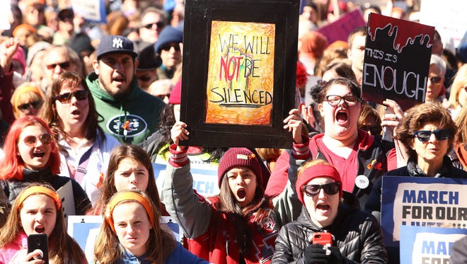 Approximately 13,000 marched down South Street in Morristown in the March For Our Lives demonstration.