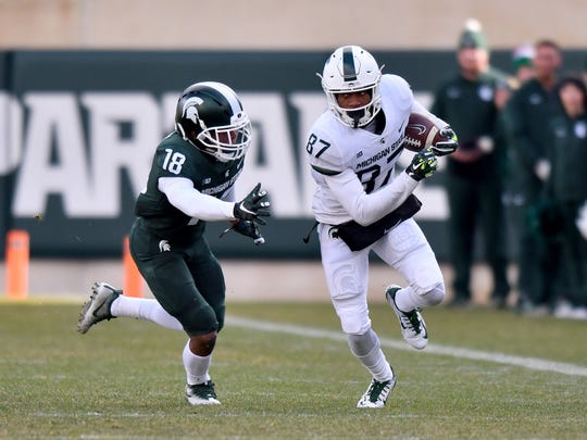 Despite plenty of talent and experience returning in the Michigan State secondary, freshman Kalon Gervin (18) could carve out an immediate role with the Spartans.