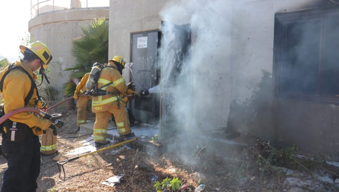 Fillmore firefighters put out a blaze in an abandoned water treatment plant Thursday.