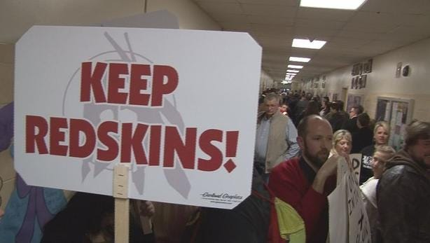 Residents of Lancaster wanted to keep the Redskins mascot.