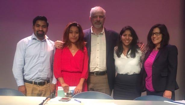 Alvaro Aguilar, Yeimi Hernandez, Frank Argote-Freyre, Ana Ventura and Ana Yngelmo led a panel discussion on immigration at Kean University on Oct. 4.
