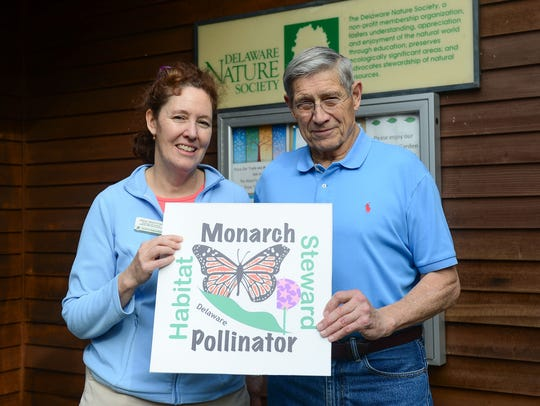 Alice Mohrman and Michael McFarlin pose for a photo at the Abbott's Mill Nature Center, where they are working toward the conservation of Monarch butterflies.