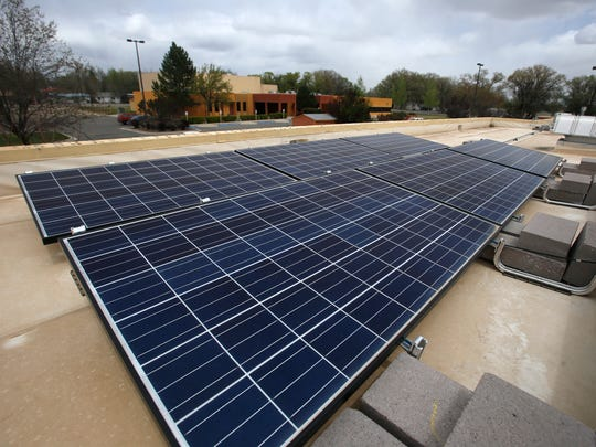 Solar panels are pictured on the roof of the Bloomfield Senior Center.