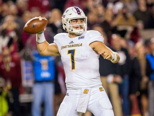 Nov 17, 2018; Columbia, SC, USA; Chattanooga Mocs quarterback Nick Tiano (7) passes against the South Carolina Gamecocks in the first half at Williams-Brice Stadium. Mandatory Credit: Jeff Blake-USA TODAY Sports
