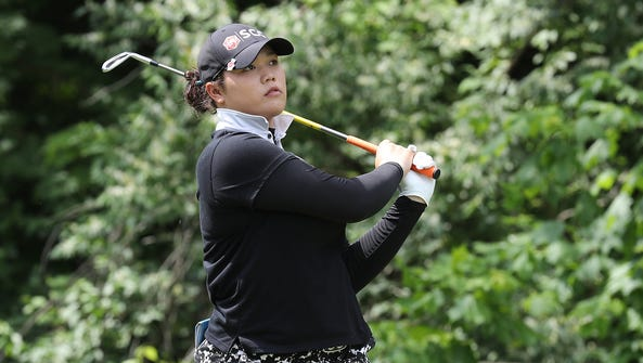 Aryia Jutanugarn hits her tee shot on the sixth hole