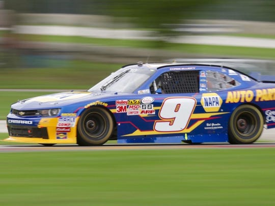 Chase Elliott leads the pack at turn three at Road America Saturday afternoon.