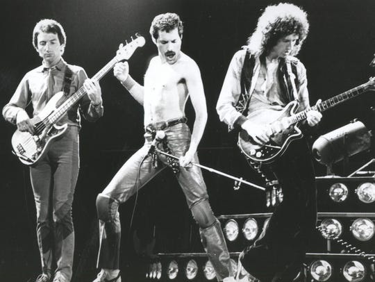 Queen from left: John Deacon, Freddie Mercury, and