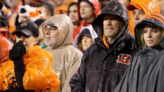 Bengals fans can't believe the Bengals lost to the Steelers, 18-16, in the final seconds of the playoff game at Paul Brown Stadium Saturday, January 9, 2016.