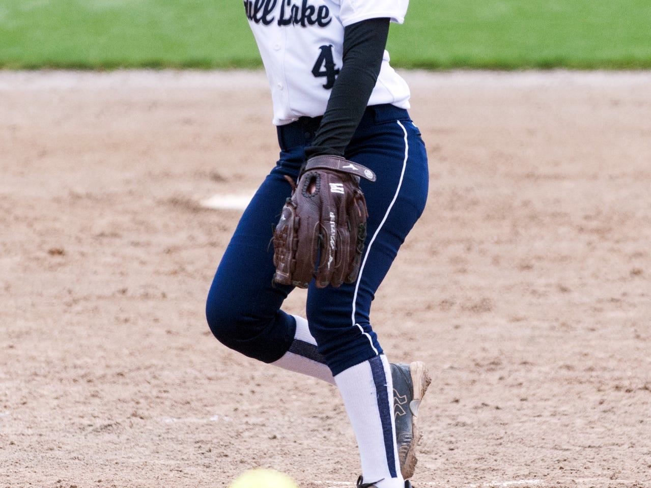 Gull Lake's pitcher, Gracie Boyle (4), in game action Saturday morning during the Gull Lake Invitational.
