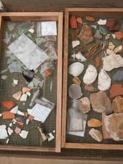 A view of some of the items found at the excavation site at the location of where the Ark one stood.  The Ark was a general store that did business adjacent to the Indian King Tavern on Kings Hwy. in Haddonfield.  08.06.14