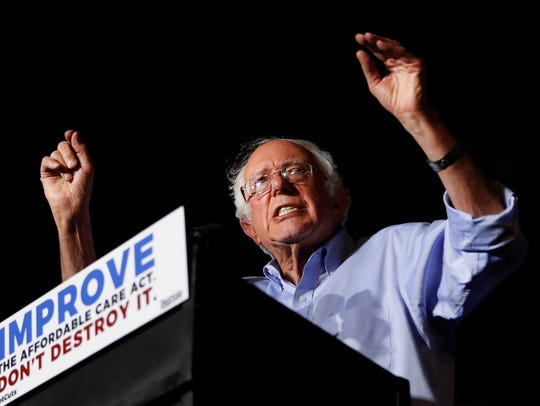 Sen. Bernie Sanders, I-Vt., speaks during a rally in