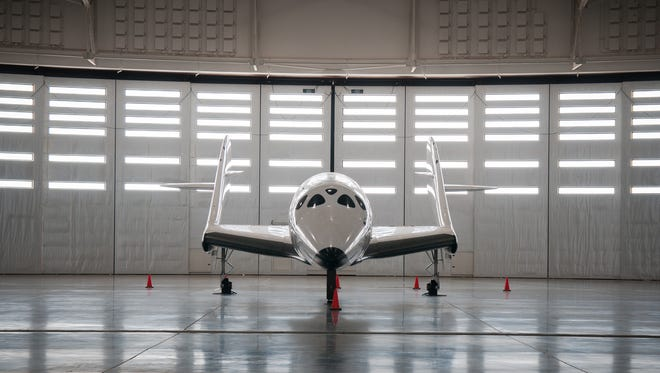 Replica of Virgin Galactic's SpaceShipTwo, the suborbital spaceplane created for space tourism.