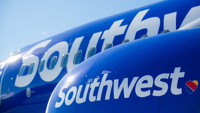 Southwest shows off its new livery on a Boeing 737.