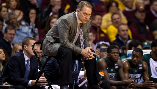 Jan 2, 2016; Minneapolis, MN, USA; Michigan State Spartans head coach Tom Izzo in the first half against the Minnesota Gophers at Williams Arena. Mandatory Credit: Brad Rempel-USA TODAY Sports
