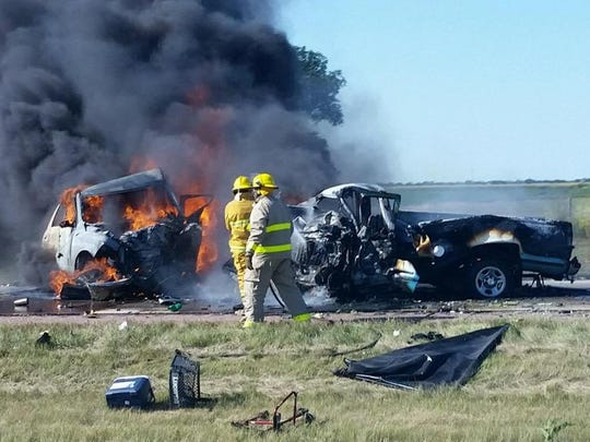 Two vehicles caught fire after a crash on I-90 east