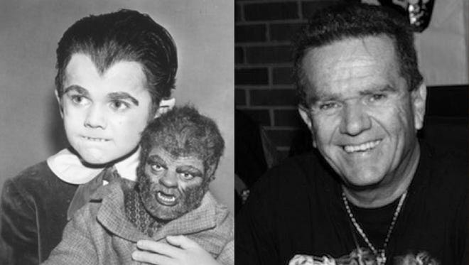 Butch Patrick as Eddie Munster with his Woof-Woof doll and Patrick today