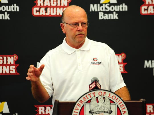 Sun Belt commissioner Karl Benson paid this visit to UL in 2013.
