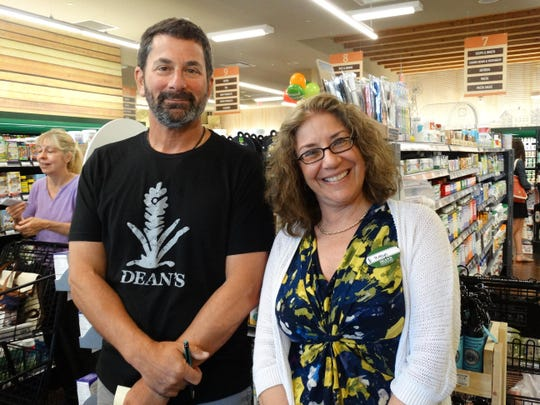 Owner Dean Nelson and nutrition manager Robyn Santos were all smiles during the grand opening of Dean's Natural Food Market in Chester on July 16.