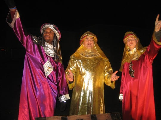 """""""A Drive Through the Christmas Story"""" will be conducted Nov. 28 to 30 and Dec. 5 to 7 at Sayre Woods Bible Church in Old Bridge. This scene depicts the wise men en route to Bethlehem."""