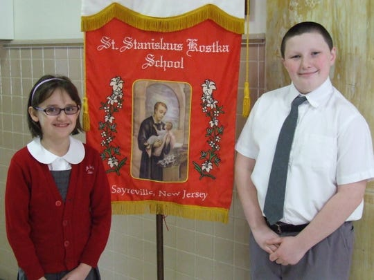 At St. Stanislaus Kostka School in Sayreville, third-grade student Emilia Dolinski and fifth-grade student James Kelly were awarded first place in the Knights of Columbus Substance Abuse Awareness Poster Contest at the local level and will be competing at the state level.