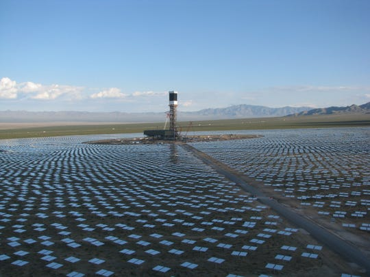 One of three solar towers at the Ivanpah solar-tower plant in San Bernardino County, near the Nevada border. This is what Palen would have looked like if built as a power-tower project.
