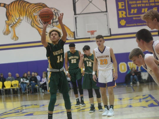 Northeastern's Kolden Vanlandingham shoots a free throw against Hagerstown Thursday, Jan. 4, 2018 during the first round of the Wayne County tournament.