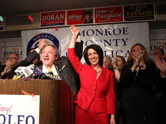 In this November 2015 file photo, then-Monroe County Republican Chair Bill Reilich introduces Monroe County Executive Cheryl Dinolfo on the night of her election victory.
