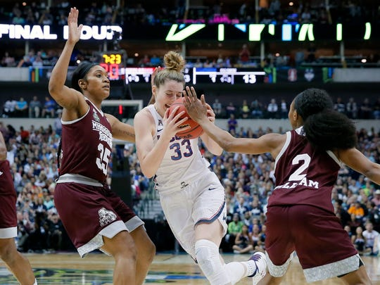 Connecticut forward Katie Lou Samuelson (33) drives