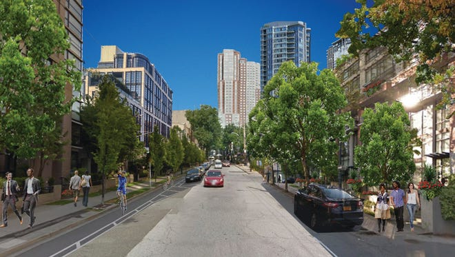 A rendering of what Division Street could look like after the downtown  redevelopment plan is implemented.