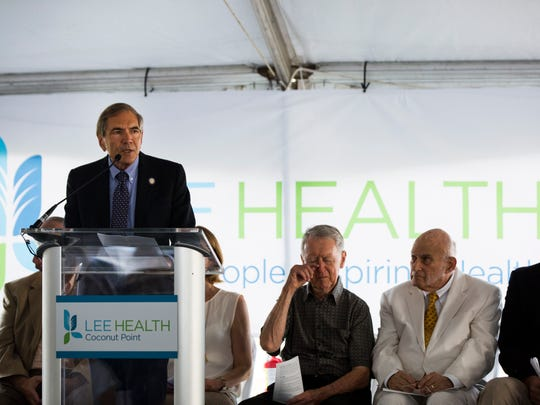 """Jim Nathan, president of Lee Health, speaks to the crowd during the """"ground-raising"""" ceremony at the future site of Lee Health Coconut Point, which has been envisioned as a """"health and wellness village,"""" in Estero on Thursday, May 18, 2017."""
