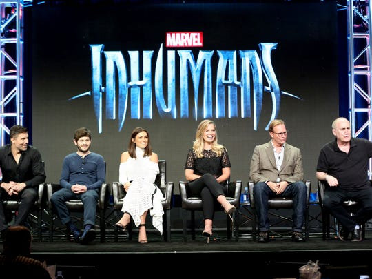 Anson Mount, from left, Iwan Rheon, Serinda Swan, Ellen Woglom, Scott Buck and Jeph Loeb join forces to present  ABC series 'Marvel Inhumans' to television writers.