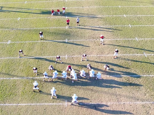 Ray High School Football team drone footage from a practice.