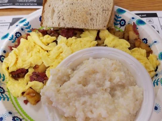 Reubens' corned beef hash breakfast platter was a heaping