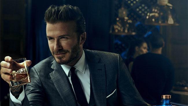 David Beckham with his whiskey