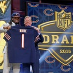 West Virginia wide receiver Kevin White poses with NFL Commissioner Roger Goodell after being selected in the draft Thursday night.