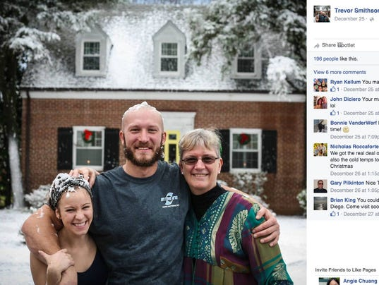 Husband gives wife a white christmas with fake snow