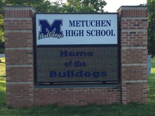 Metuchen High School sign