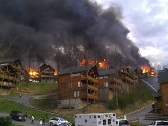 2013 fire near Pigeon Forge destroyed dozens of cabins.