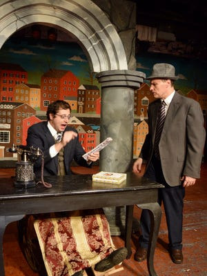 "George Bailey (played by Rich Boyer, right) must resist the temptations of Mr. Potter (TJ Reissner) in ""It's a Wonderful Life"" at Pax Amicus Castle Theatre in Budd Lake.  The stage adaptation of the beloved 1946 film opens tonight."