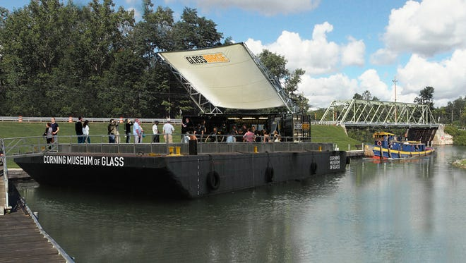A rendering of the Corning Museum of Glass' GlassBarge, which will bring glassmaking demonstrations to stops along the Erie Canal beginning in 2017.
