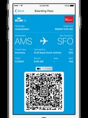 KLM boarding pass on Facebook Messenger